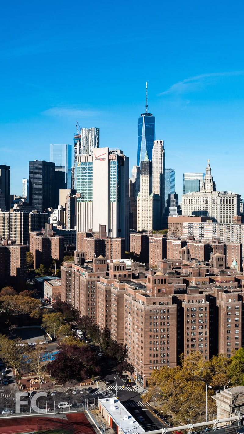 A view of Lower Manhattan's iconic towers from the residential tower.