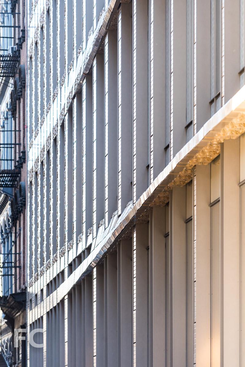 Close-up of the south facade.