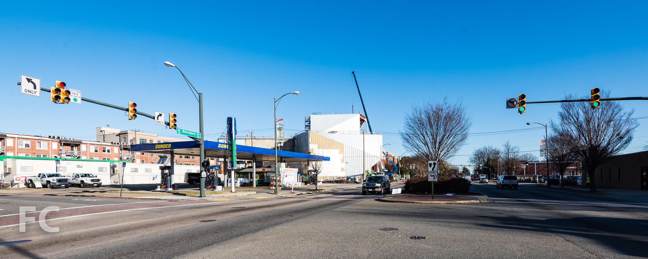 Southwest corner from North Belvidere Street.