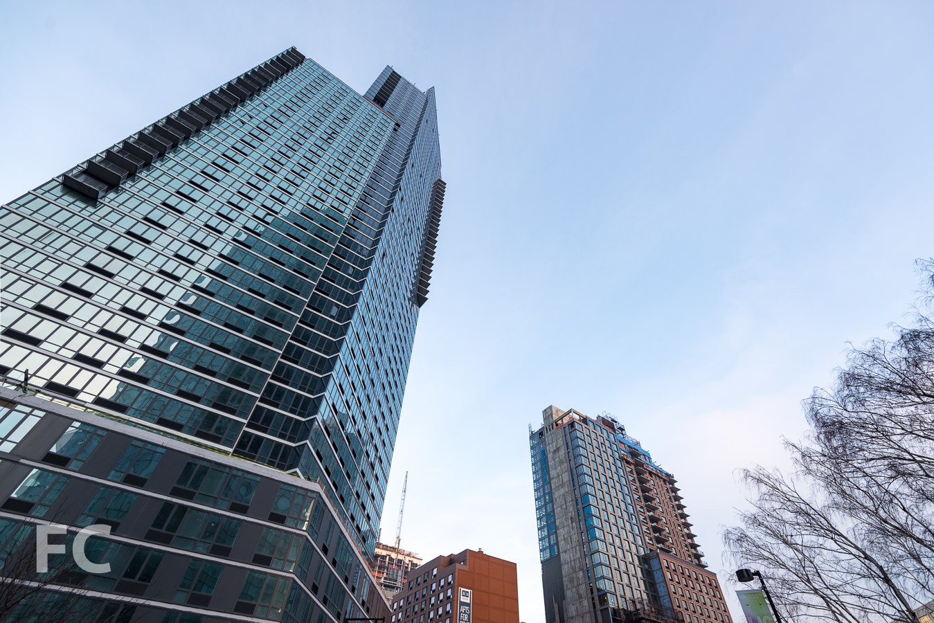 Looking up at The Hayden (left), with Watermark Court Square (right) and The Edison (far right) in the background.