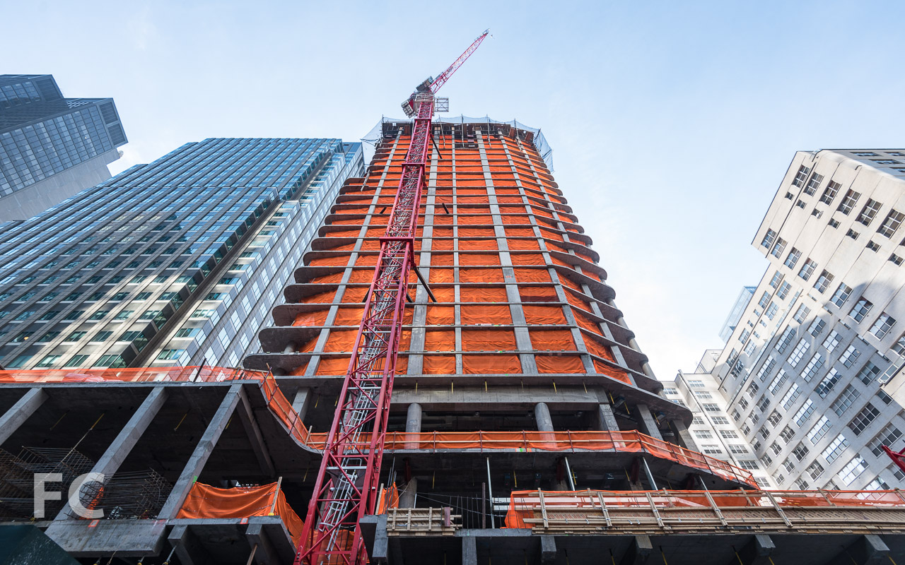 Looking up at the north facade of the tower from West 53rd Street.