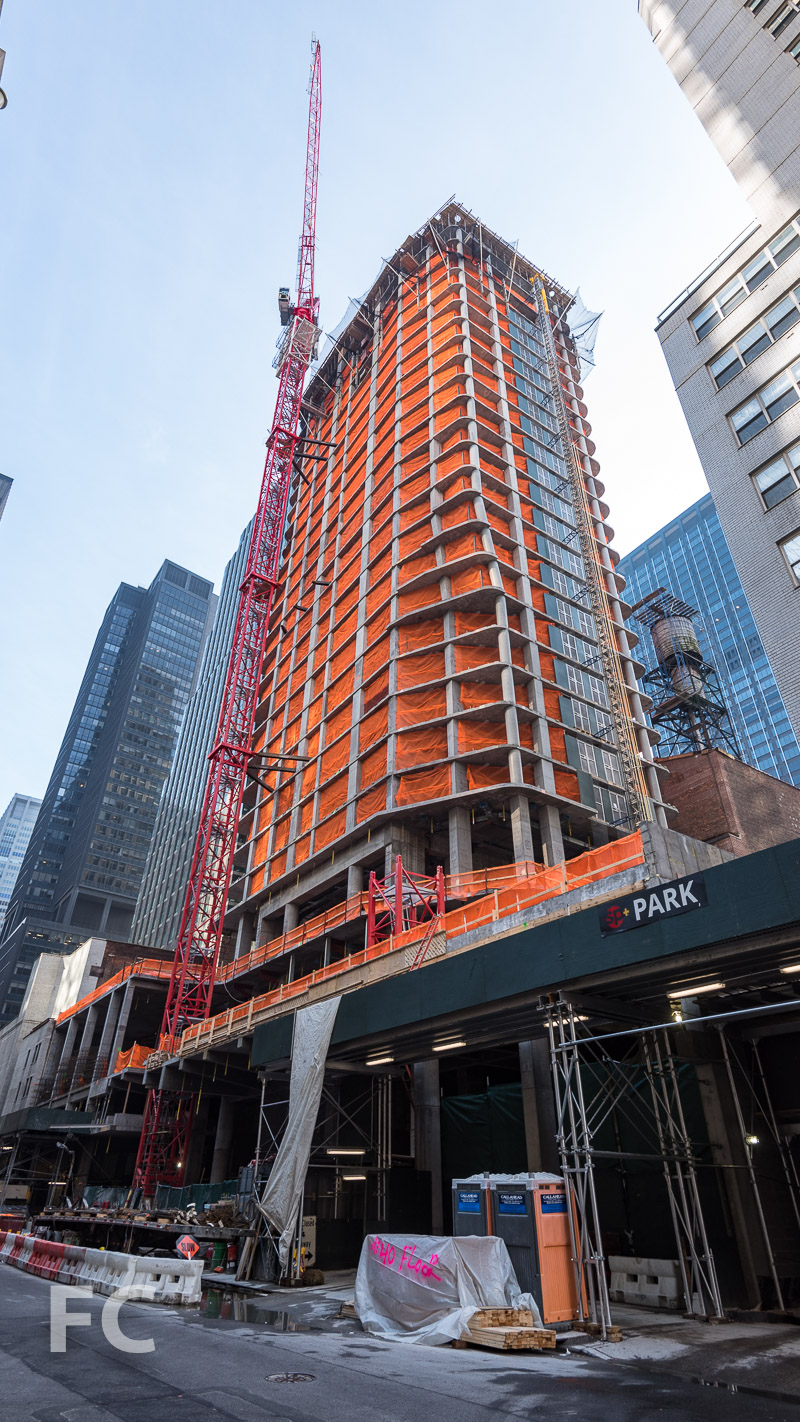 Northwest corner of the tower from West 53rd Street.