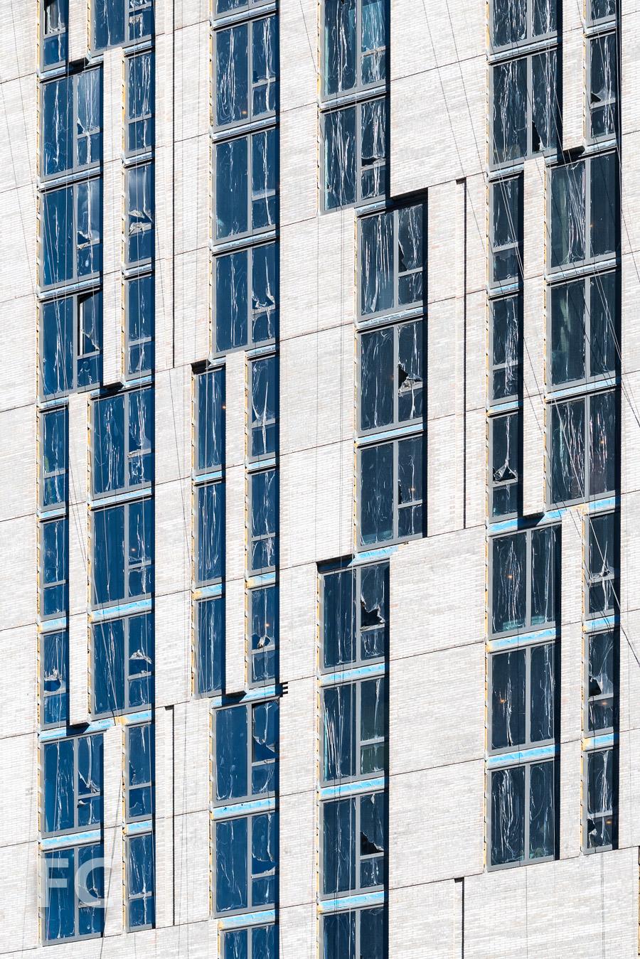 Close-up of the south façade.