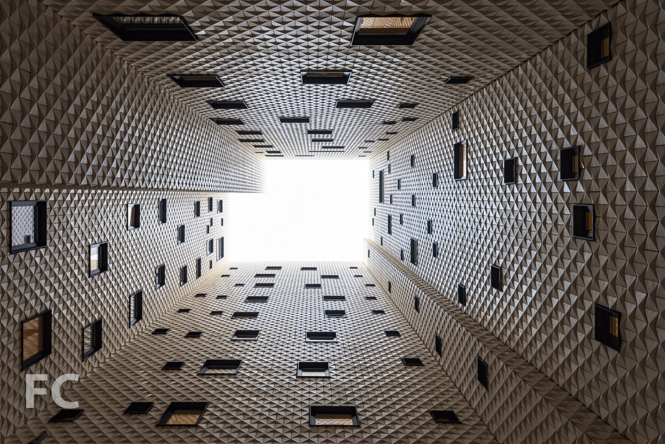 Looking up at the courtyard atrium.