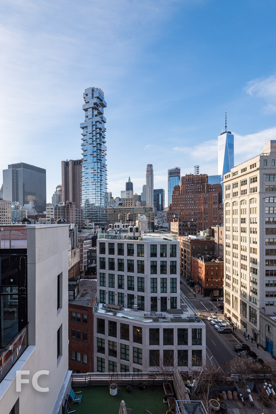 View of the Lower Manhattan skyline from the roof terrace of Penthouse B.