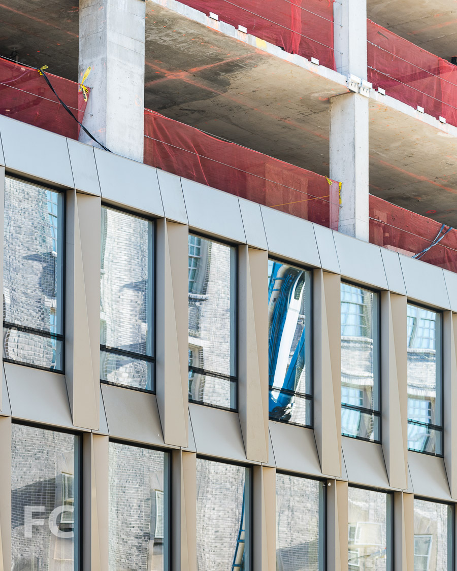 Close-up of the curtain wall panels on the south facade.