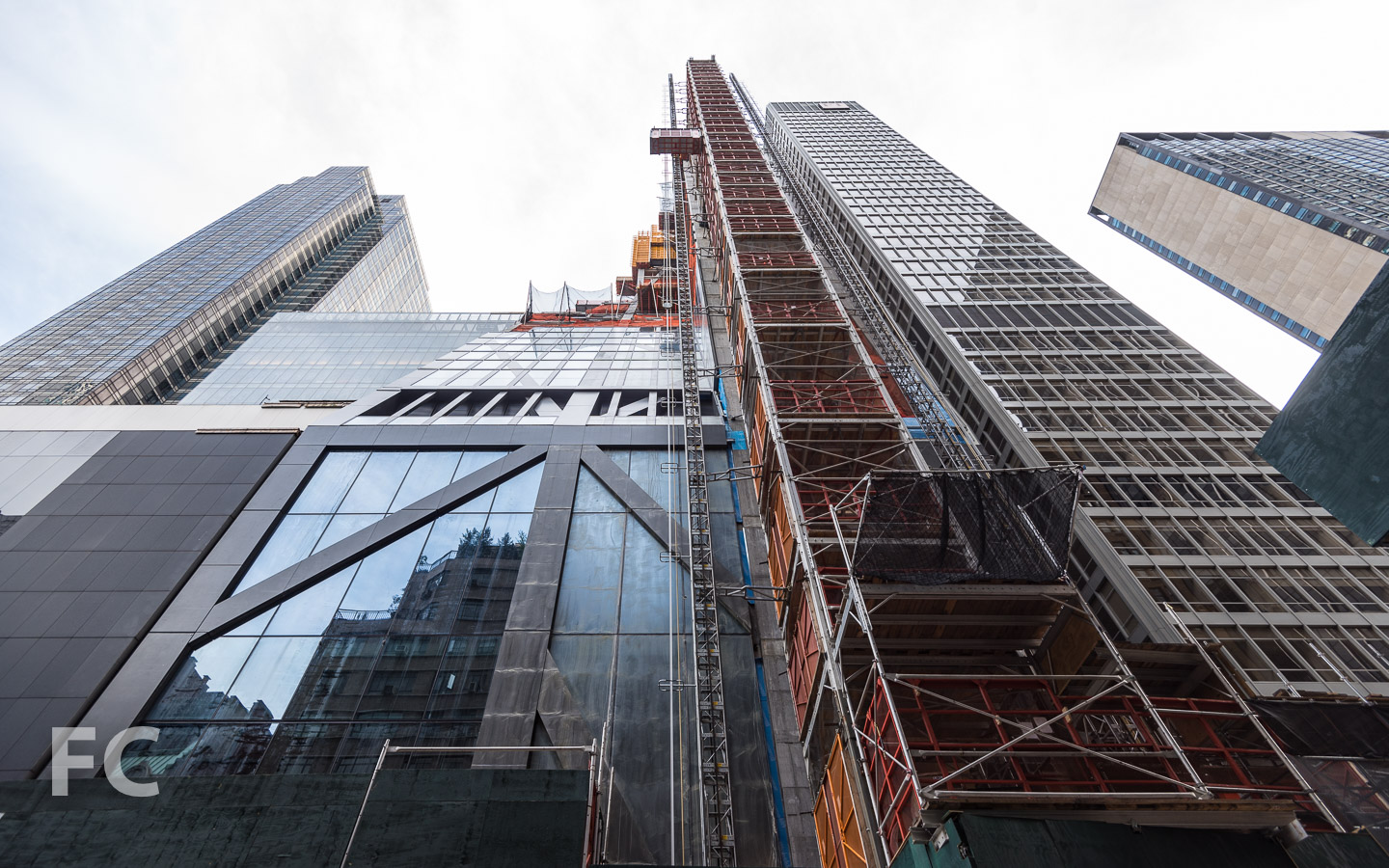 Looking up at the north façade at West 54th Street.