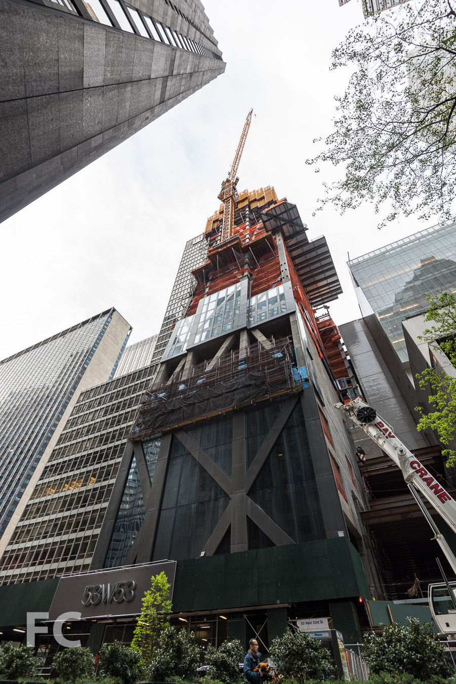 Looking up at the southeast corner from West 53rd Street.