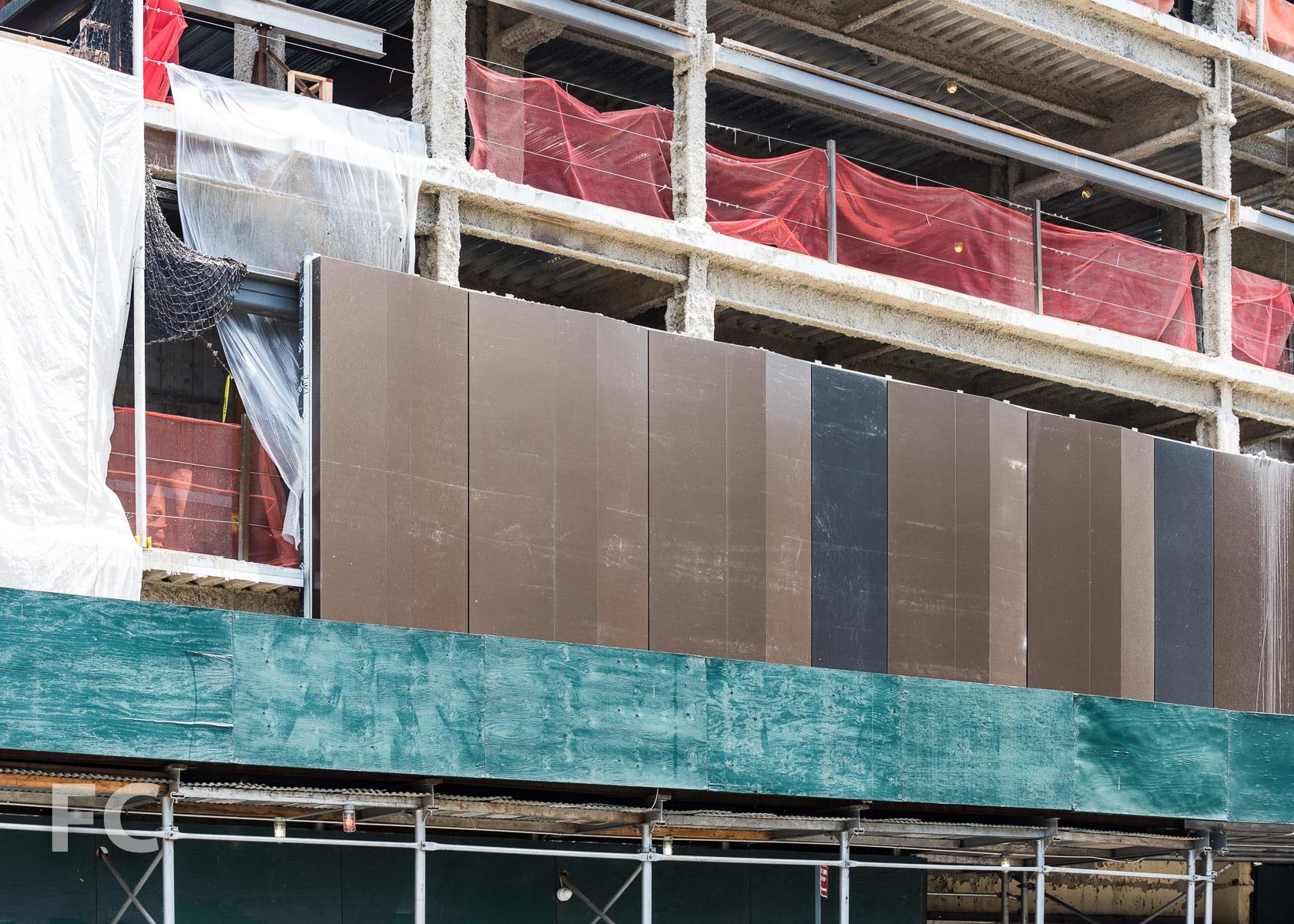 Close-up of the metal façade panels.