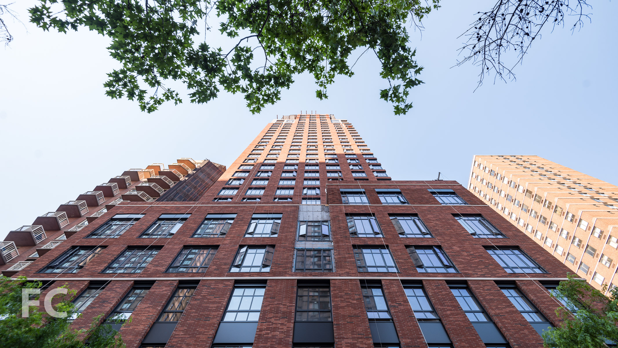 Looking up at the north façade from East 95th Street.