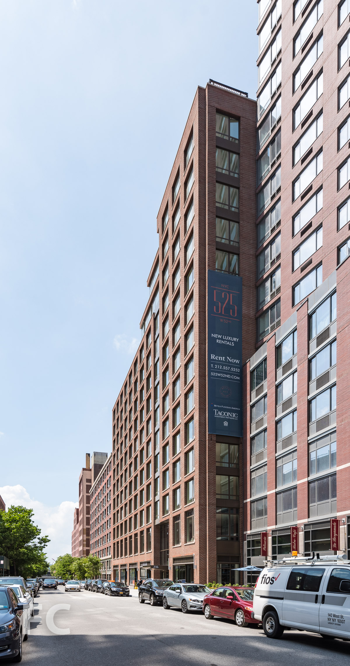 Southeast corner of the south tower from West 52nd Street.