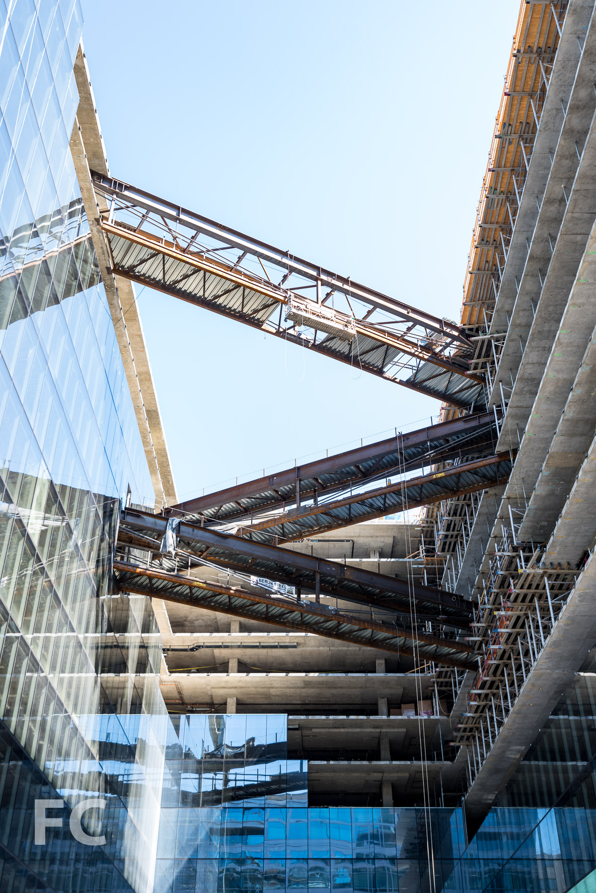 Pedestrian bridges connecting the east and west tower.