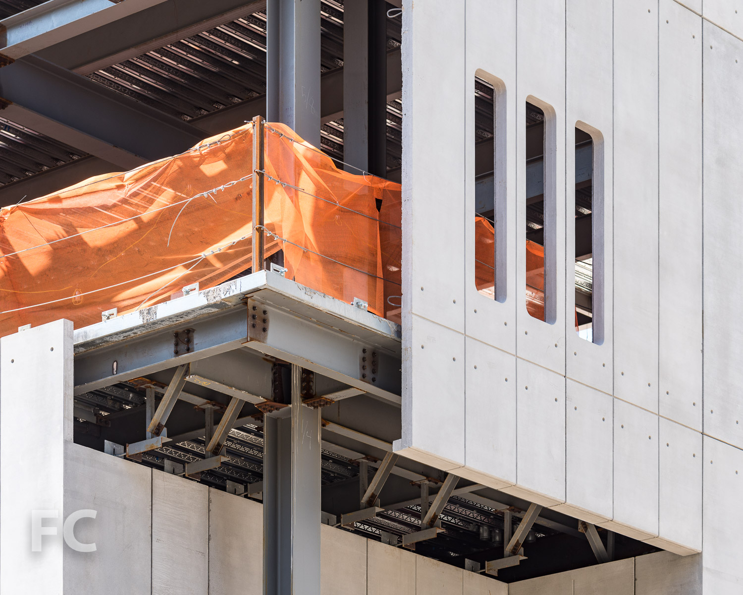 Close-up of the facade cladding of the Academic Conference Center at the northeast corner.