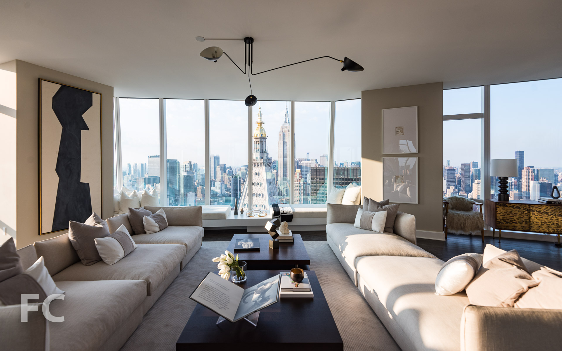 Living room views of the Midtown skyline.