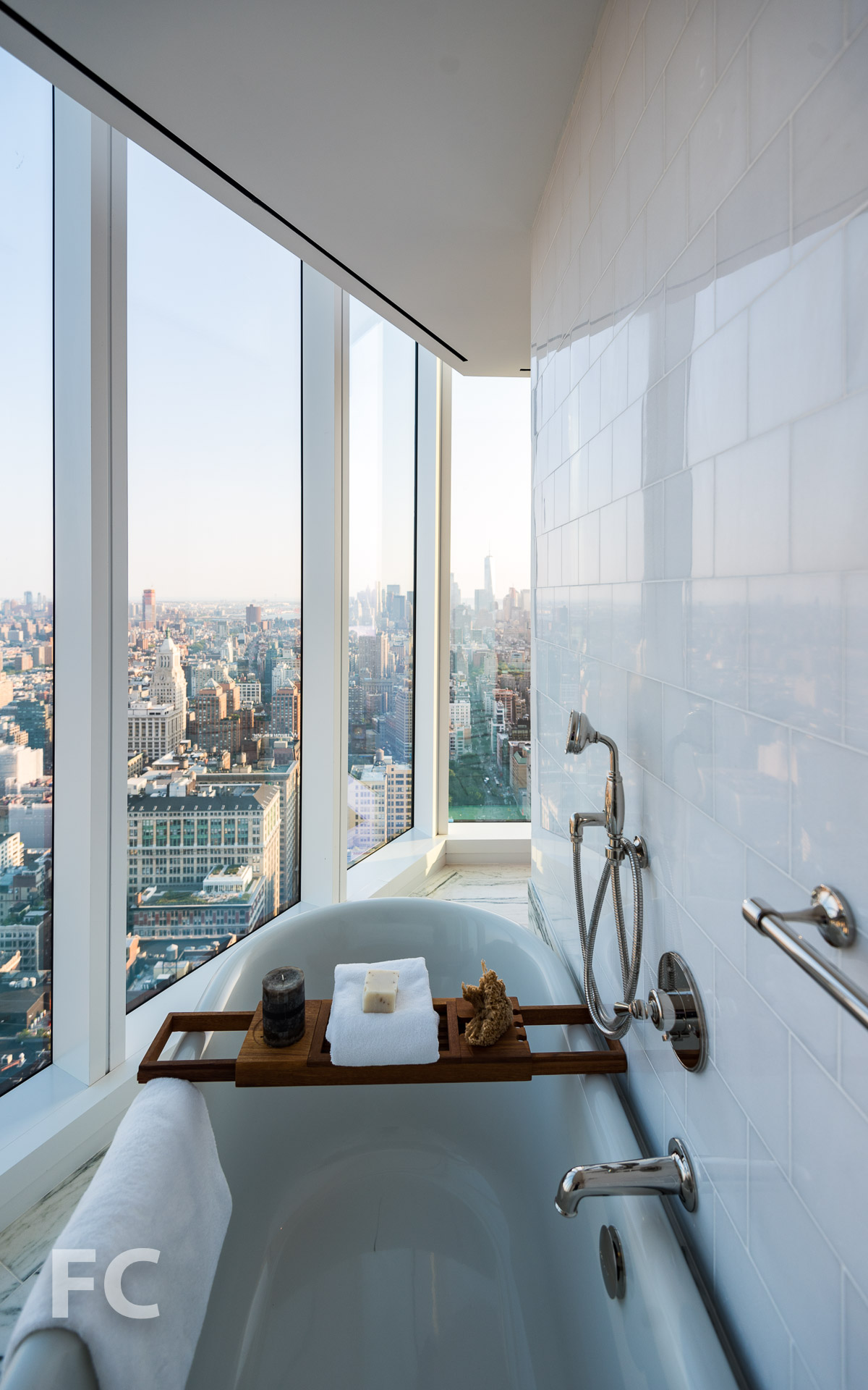 View of the Lower Manhattan skyline from the master bathroom.