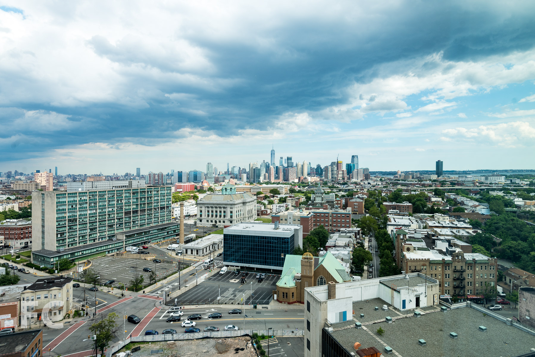 View to Lower Manhattan from residential unit.