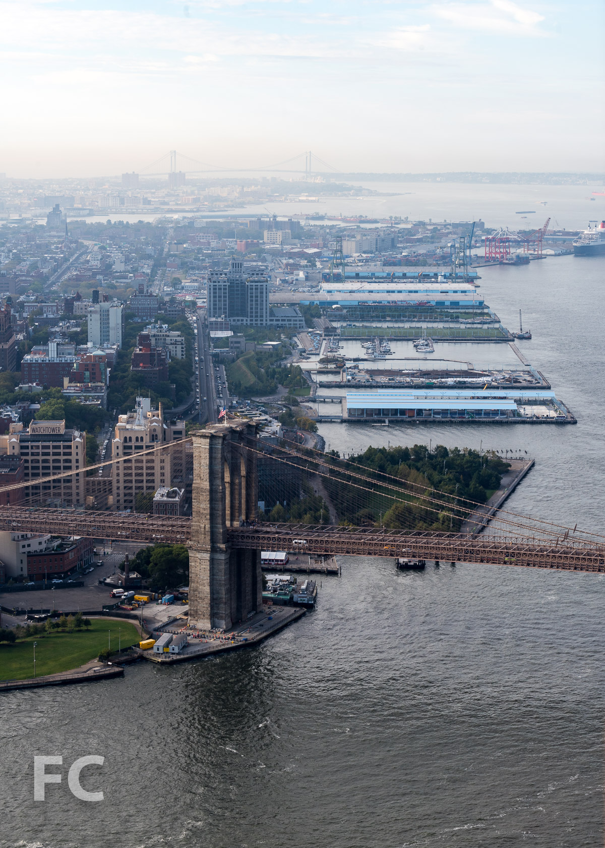 View southwest towards Brooklyn Bridge Park and Brooklyn Heights from the 58th floor.