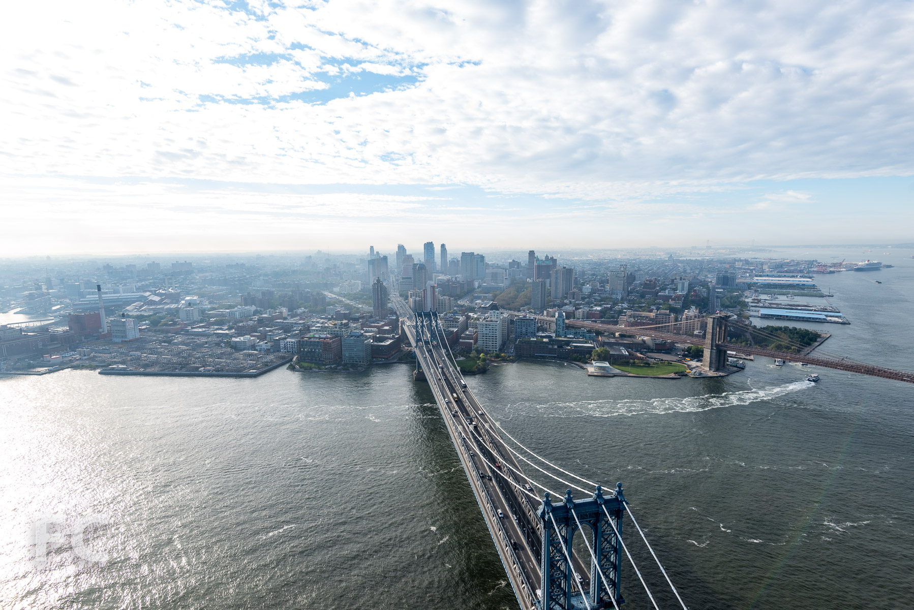 View south towards the Brooklyn waterfront from the 58th floor.