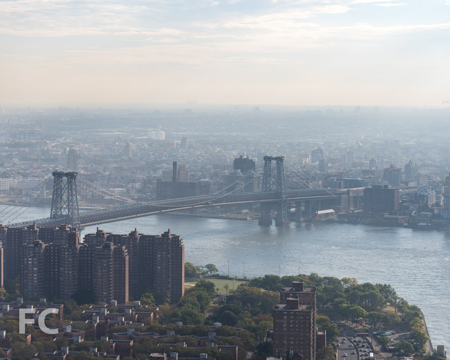 View northeast towards Williamsburg and the Williamsburg Bridge from the 58th floor.