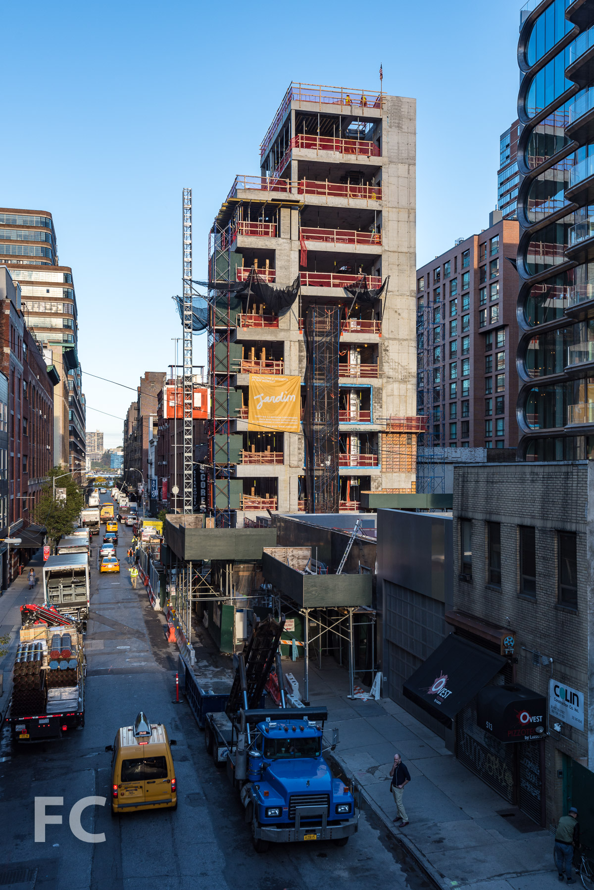 South tower fronting West 27th Street from the High Line.