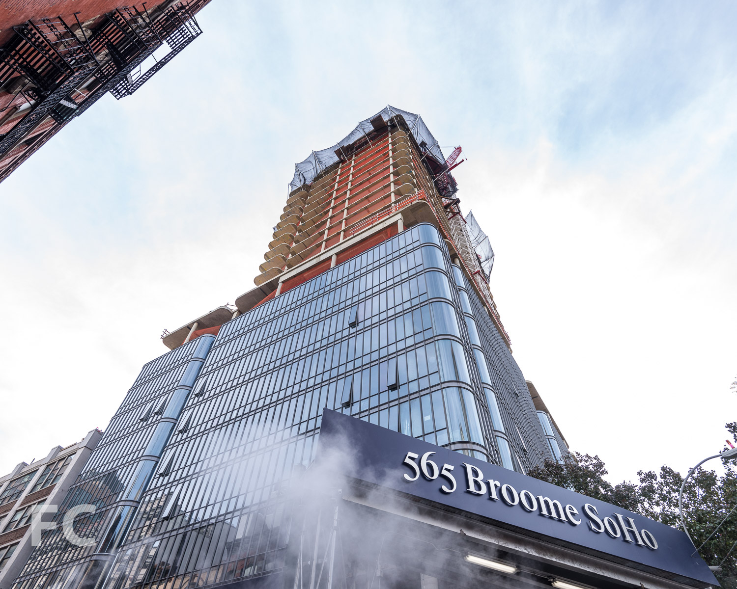 Looking up at the northwest corner of the tower from Broome Street.