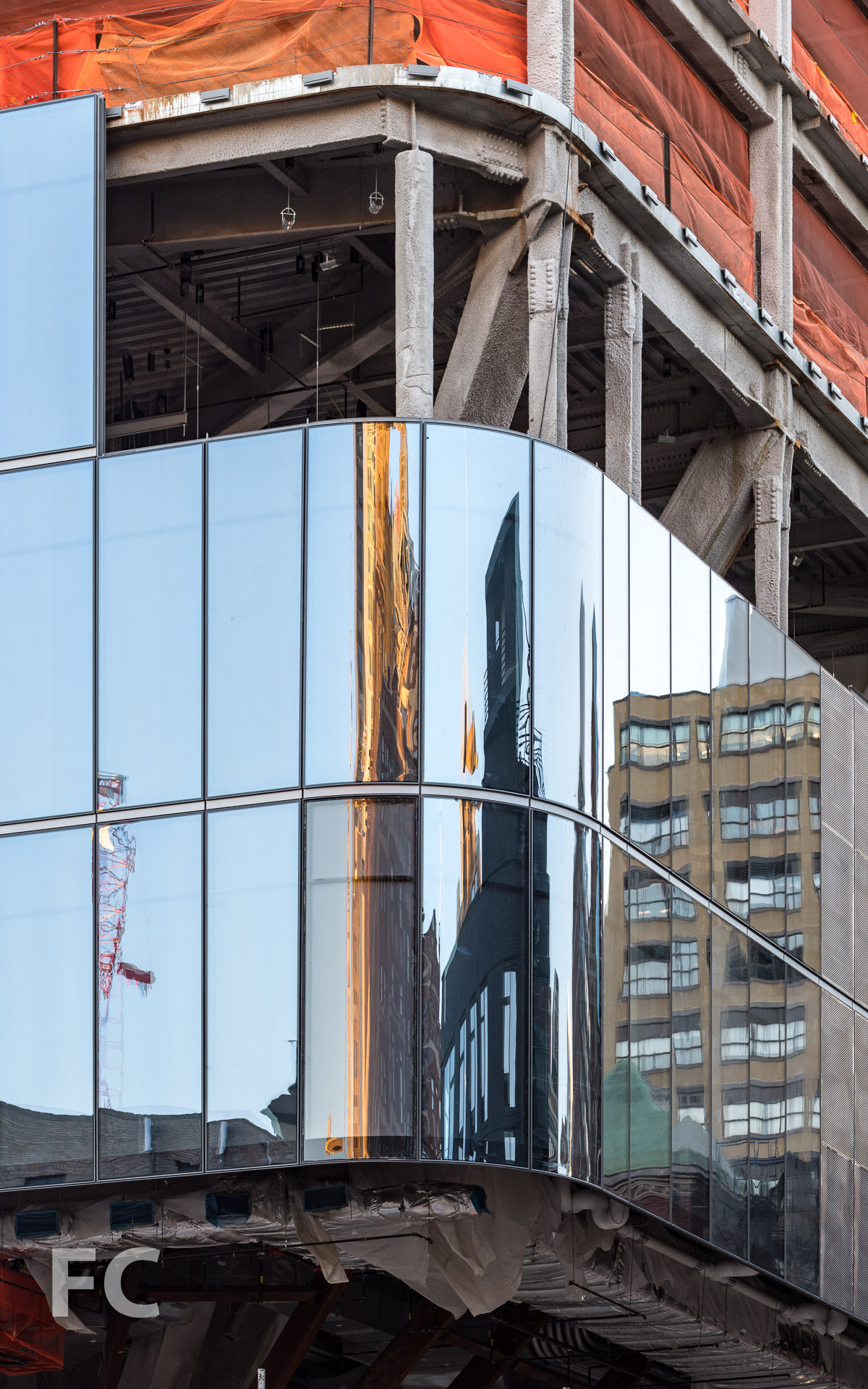 Close-up of the curtain wall at the northeast corner of 1 Manhattan West.