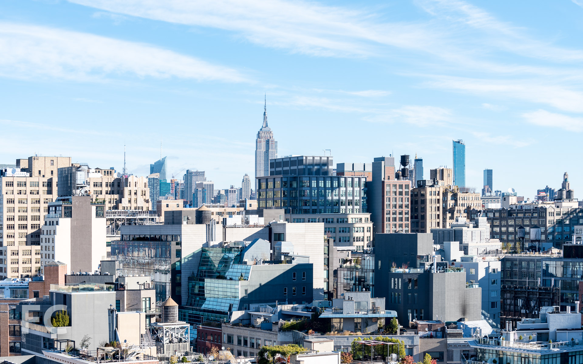View northeast from the rooftop terrace towards SoHo and Midtown.
