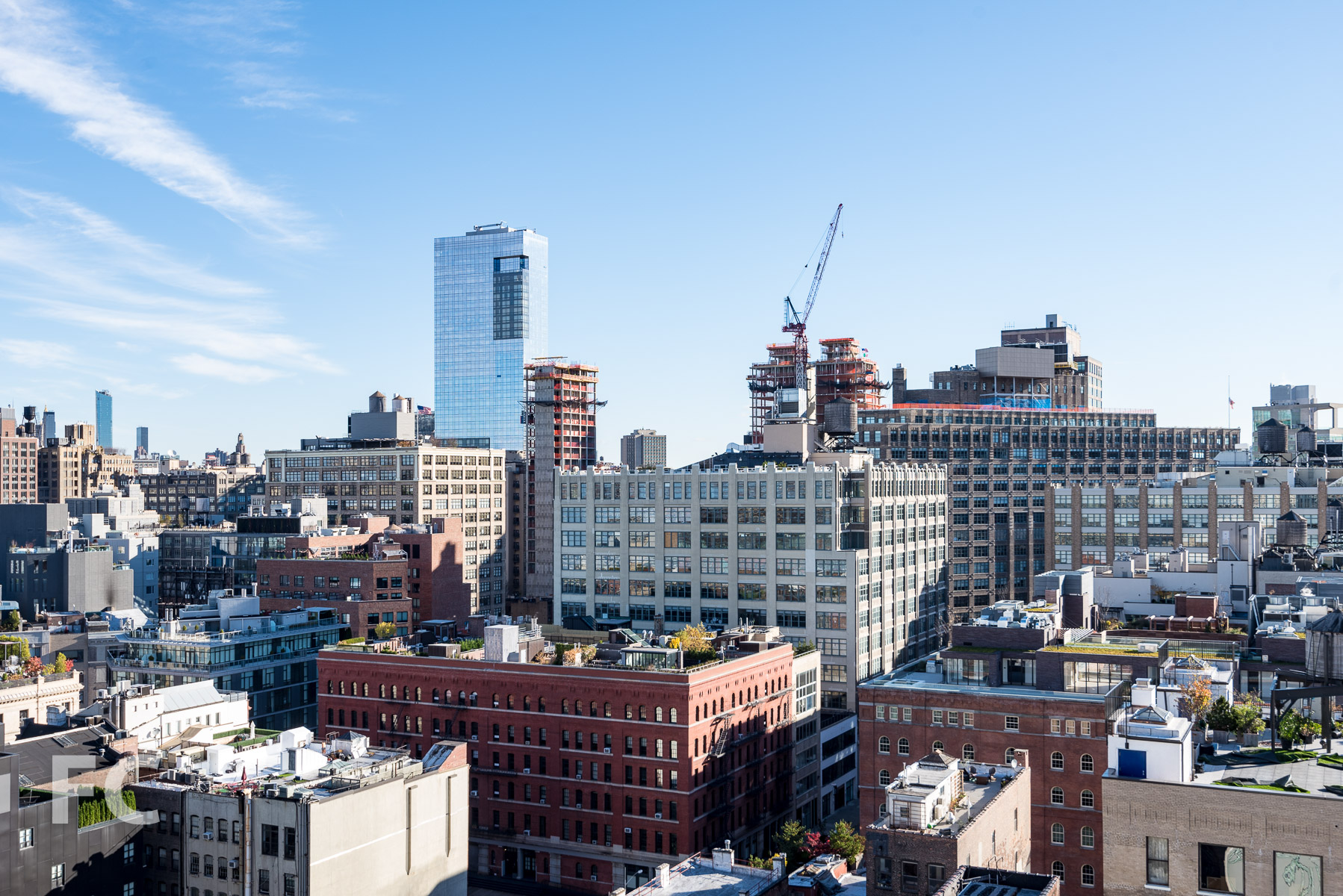 View east from the rooftop terrace towards SoHo.