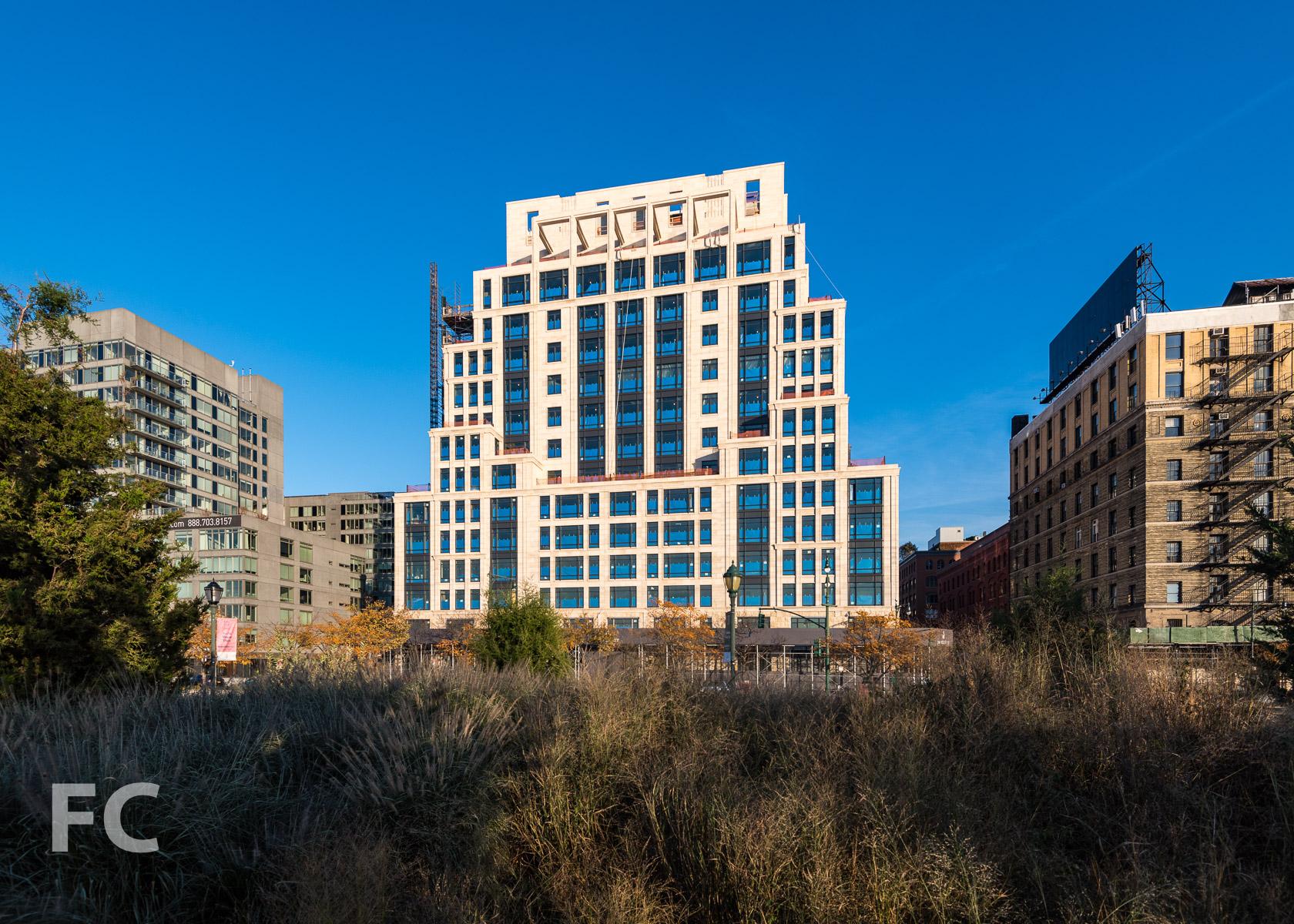West façade from Hudson River Park.