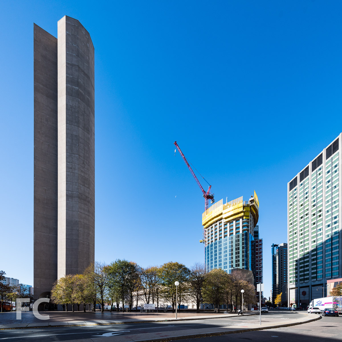 East facade of One Dalton (right) and I.M. Pei's 177 Huntington (left) completed in 1973.