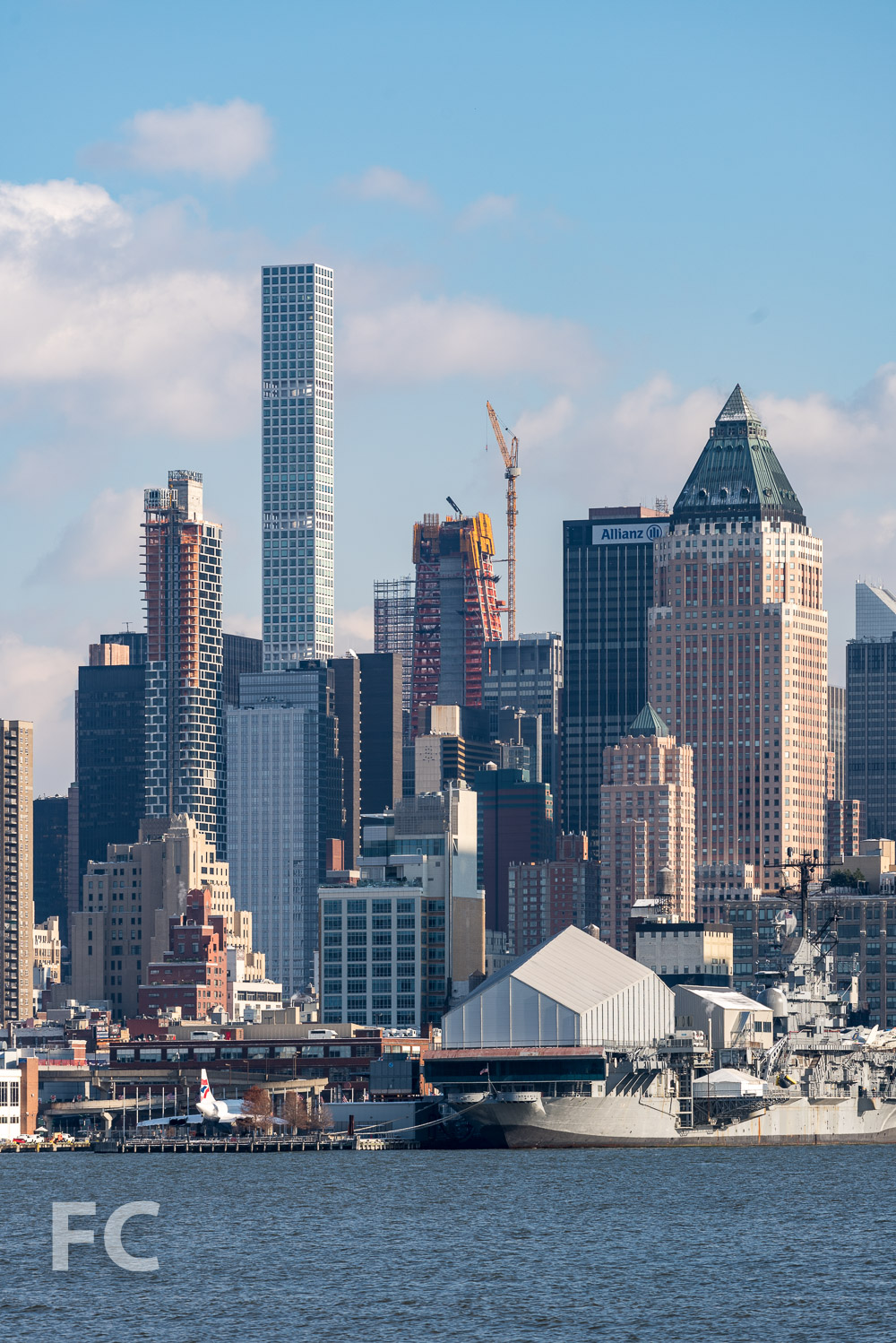 53W53 (center), 432 Park Avenue (left), and 242W53 (far left) from the Hudson River waterfront.