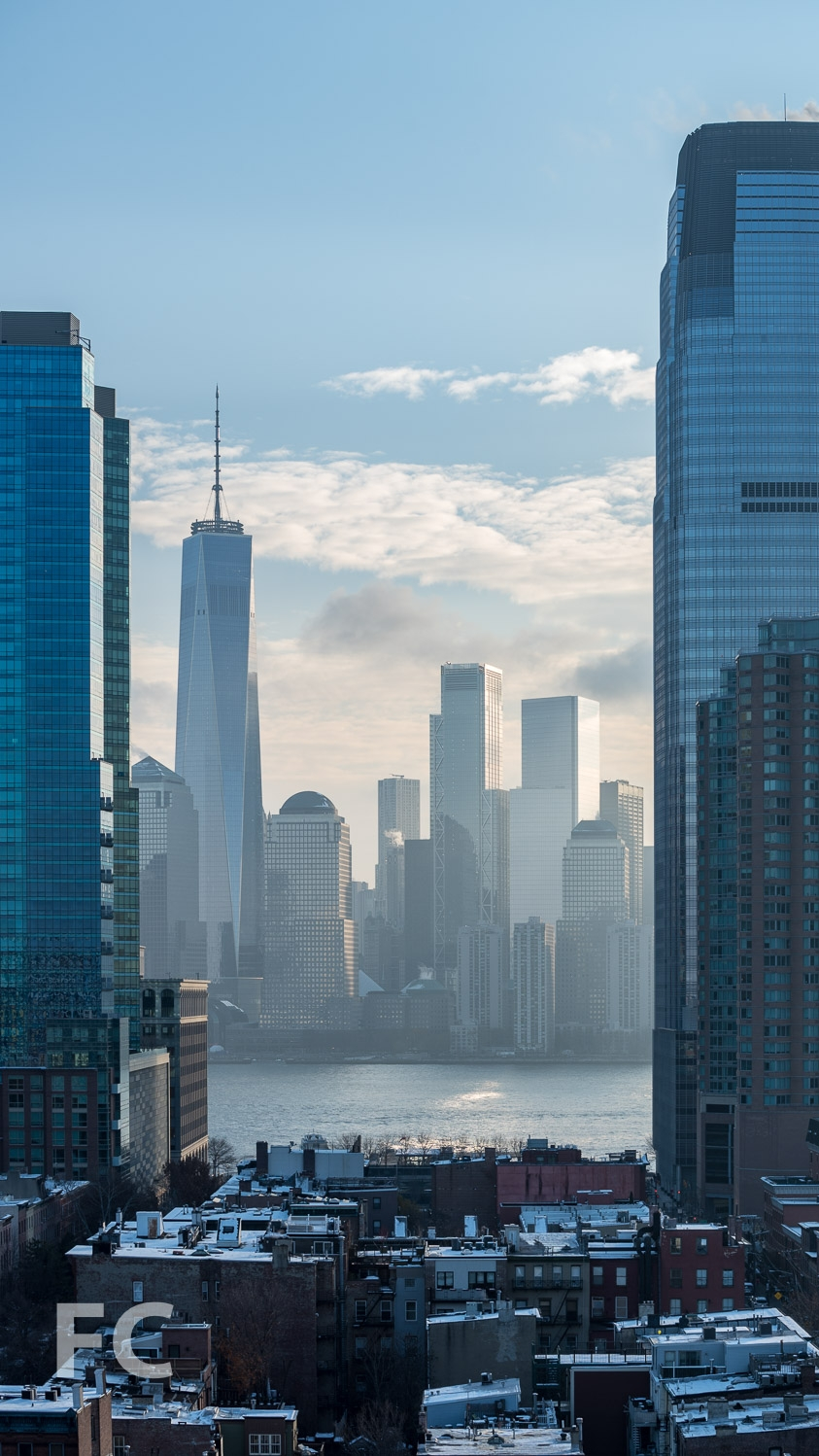View of Lower Manhattan from the rooftop terrace.