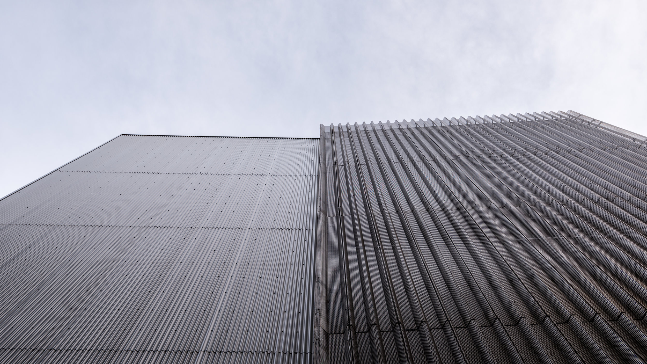 Looking up at the north façade of the new addition.
