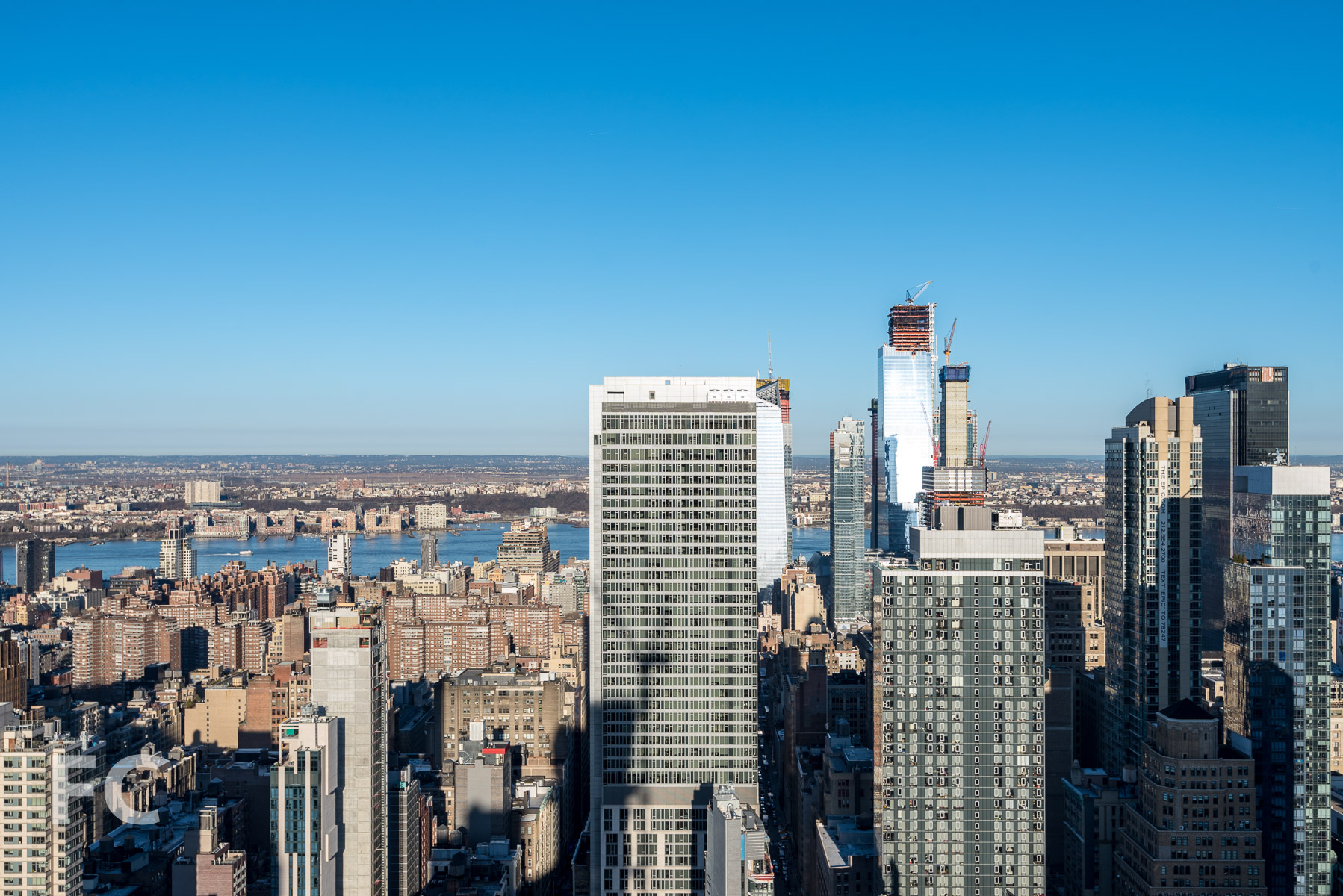 Penthouse view west towards Chelsea and Hudson Yards.