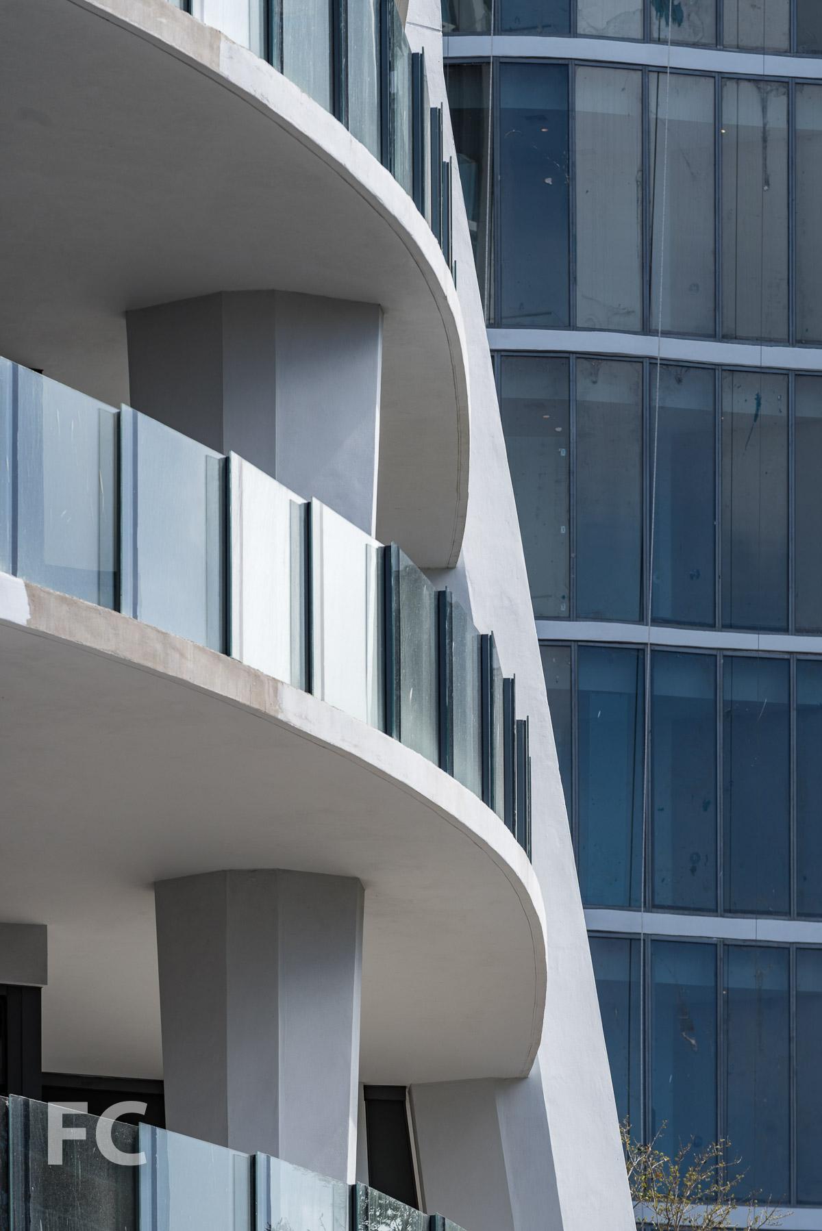 Close-up of the facade of the Park Grove Club Residences.