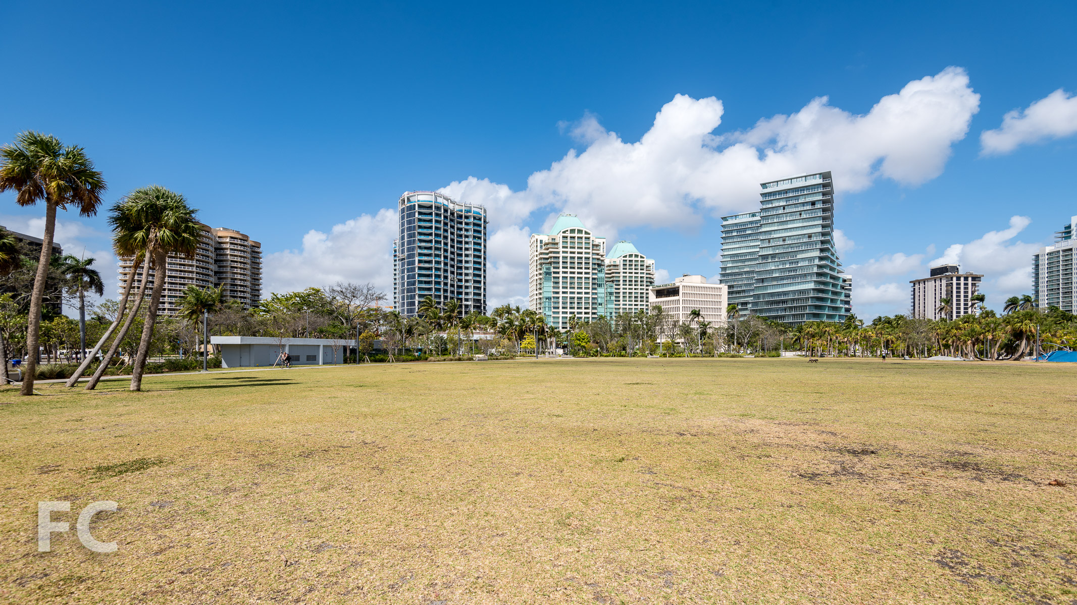 Park Grove (center) and the Grove at Grand Bay (right) from Regatta Park.