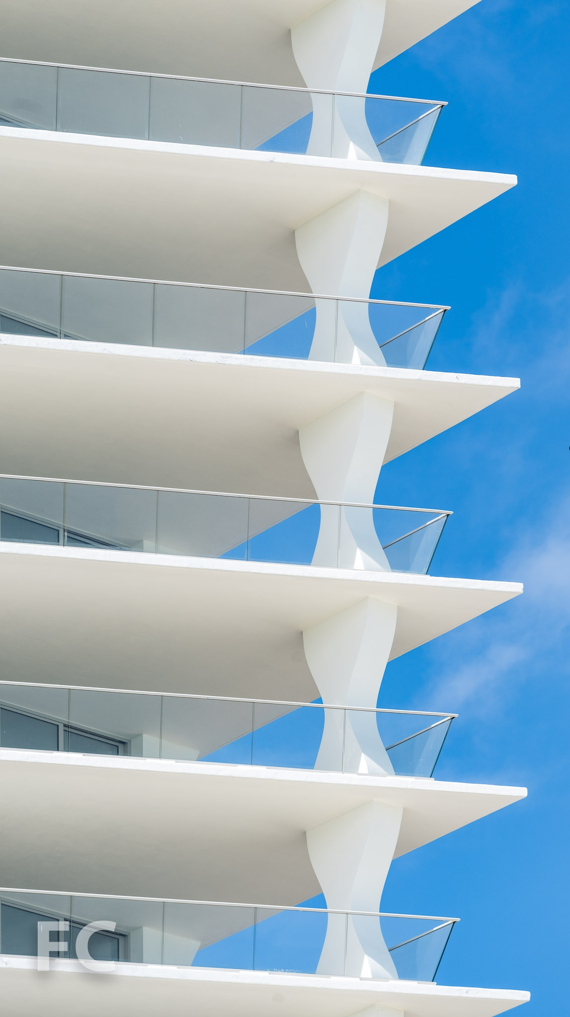 Close-up of the tower balconies.