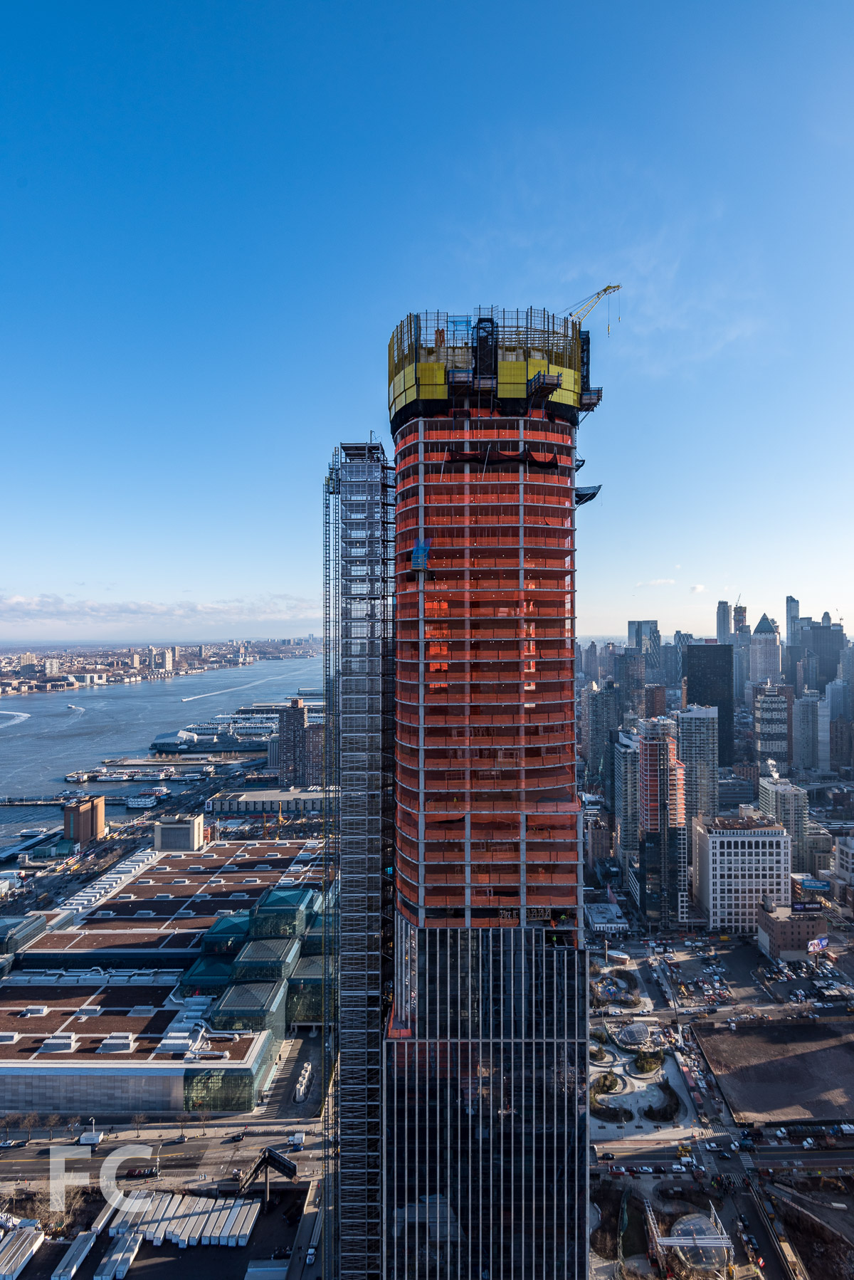 The view north towards 35 Hudson Yards from 15 Hudson Yards.