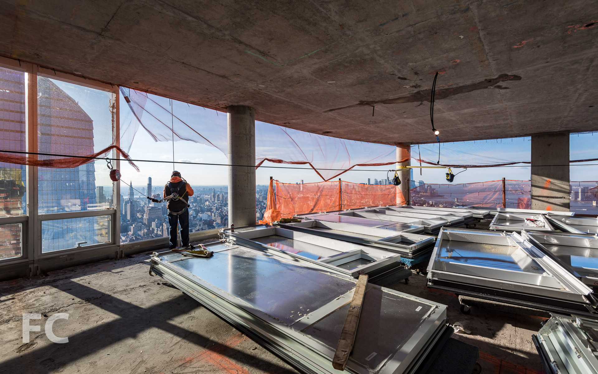 Curtain wall installation at 15 Hudson Yards.