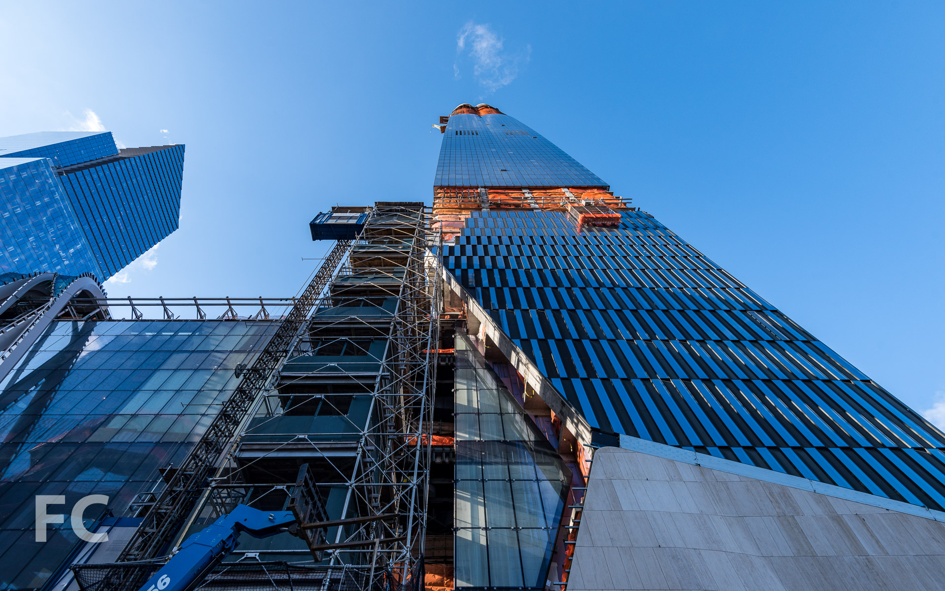 Looking up at the north facade of 15 Hudson Yards.