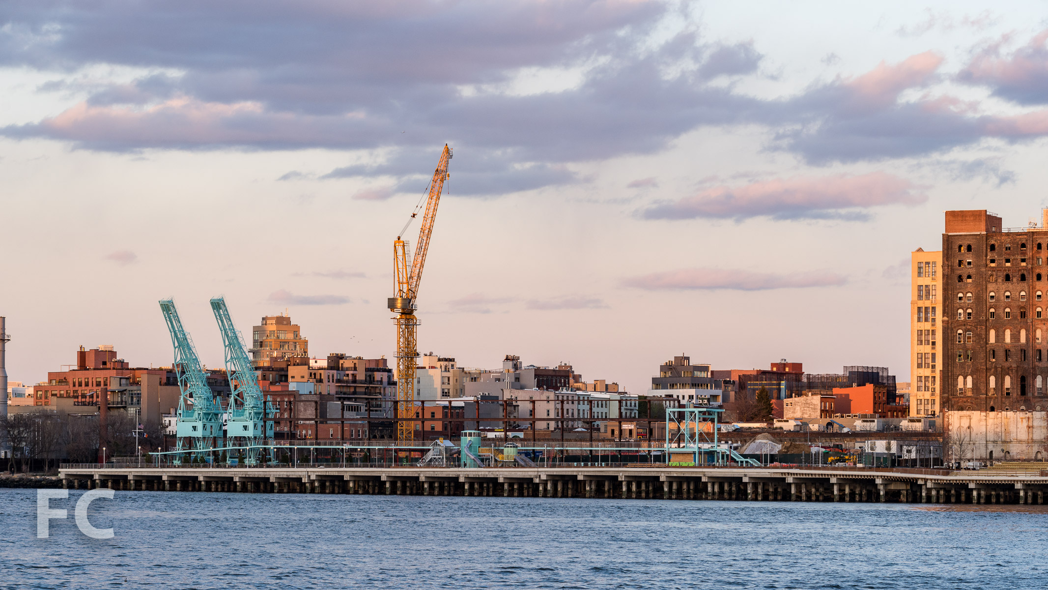 Northern half of the Domino Sugar site with the crane for 260 Kent Avenue (center).