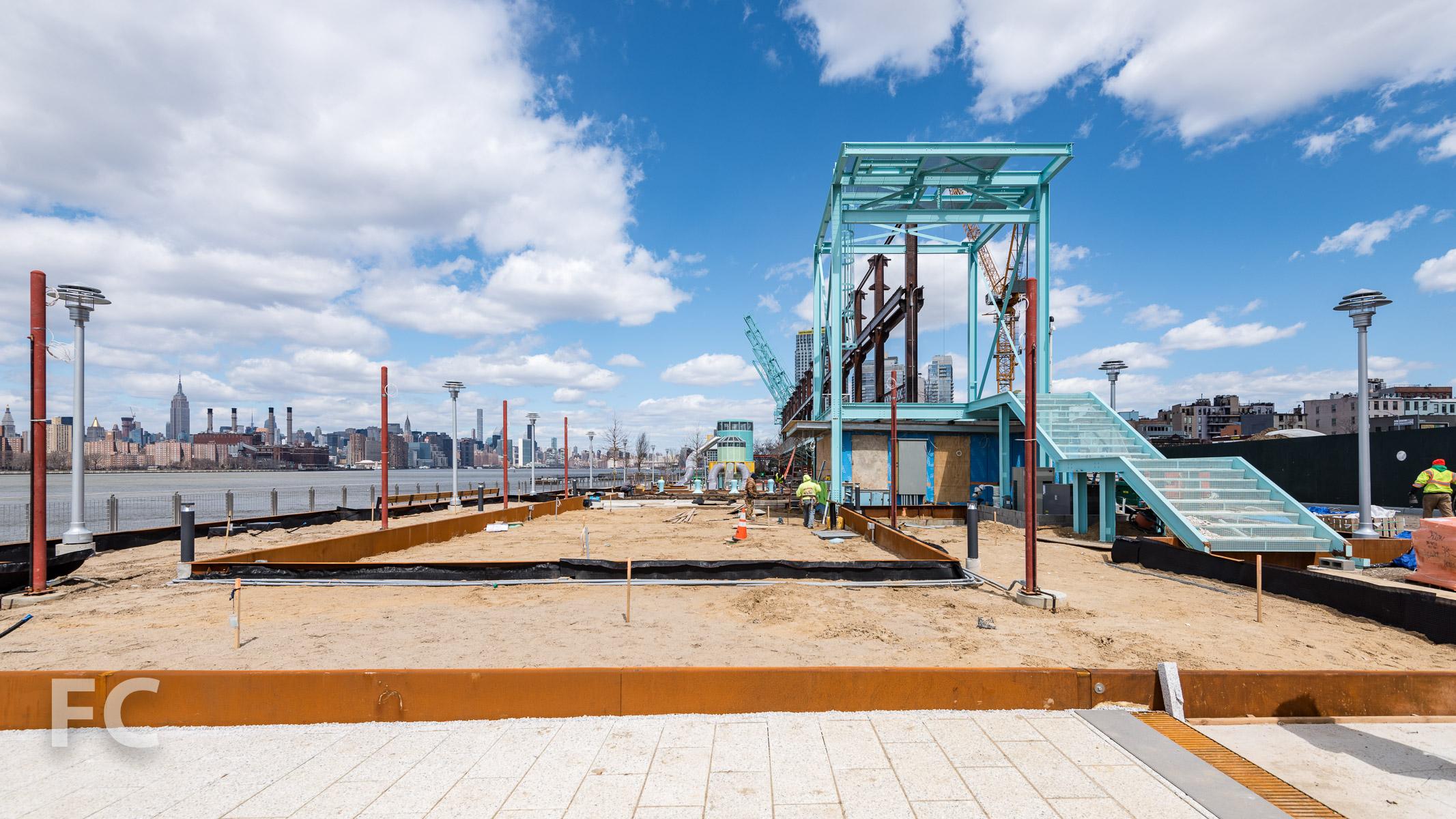 Crane platform and elevated walk.