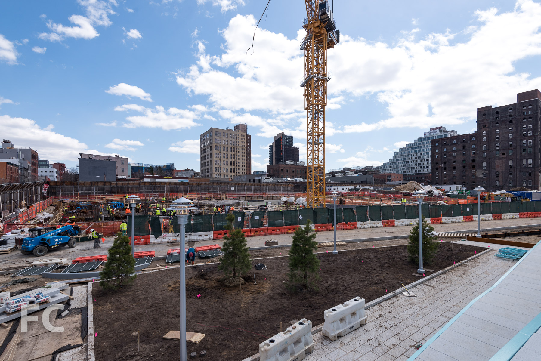 Looking at the site of 260 Kent Avenue from the elevated gantry crane walk.