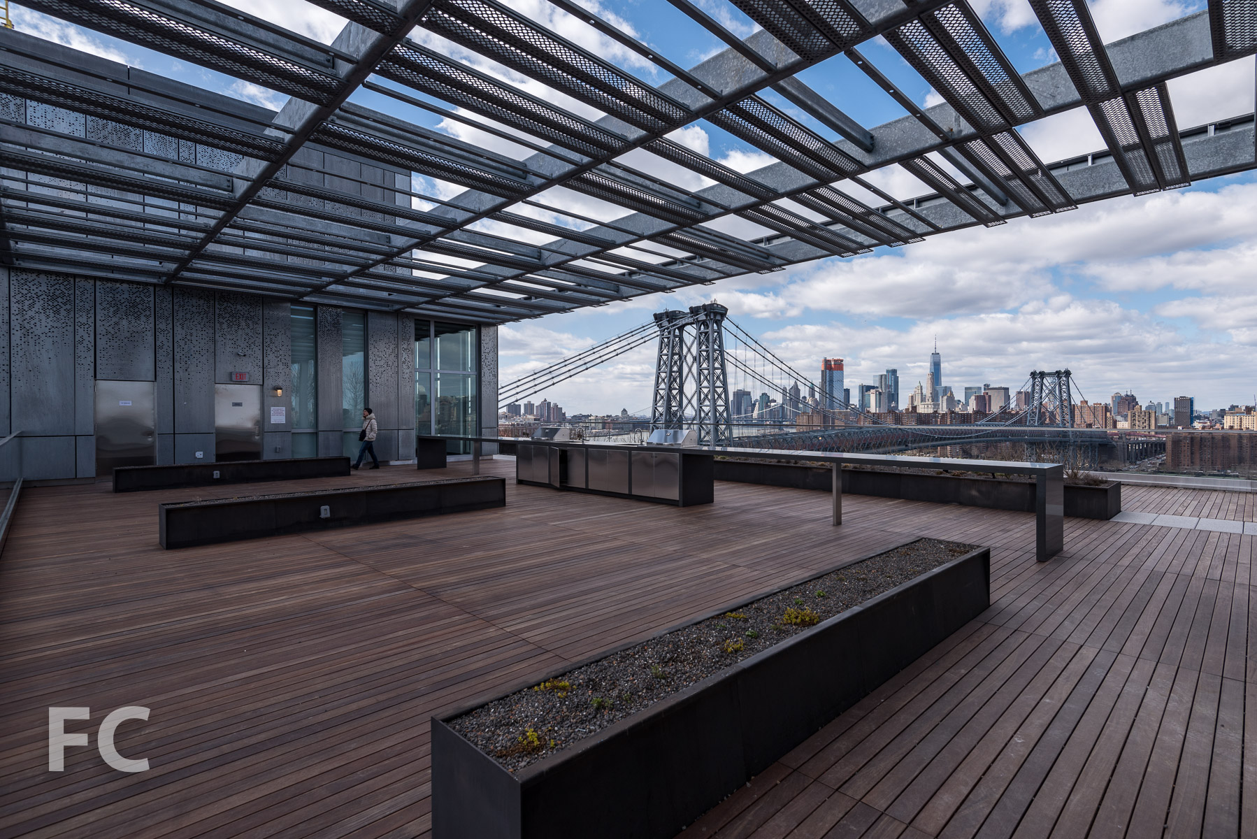 Rooftop amenity deck at 325 Kent Avenue.