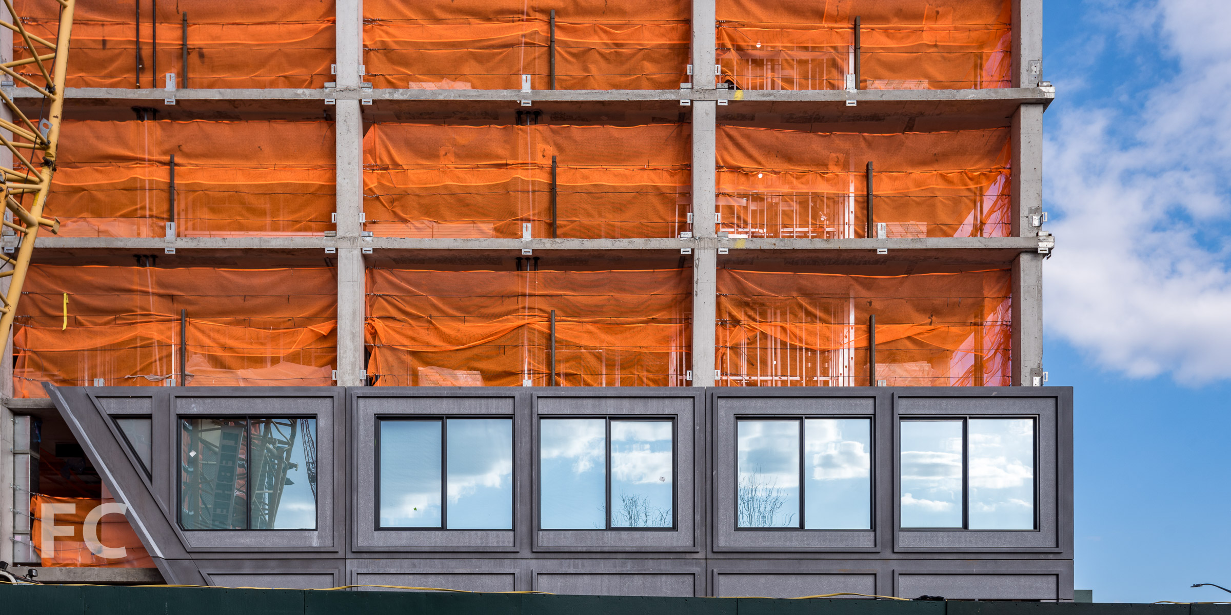 Facade panels at the southwest corner of 15 Bridge Park Drive.