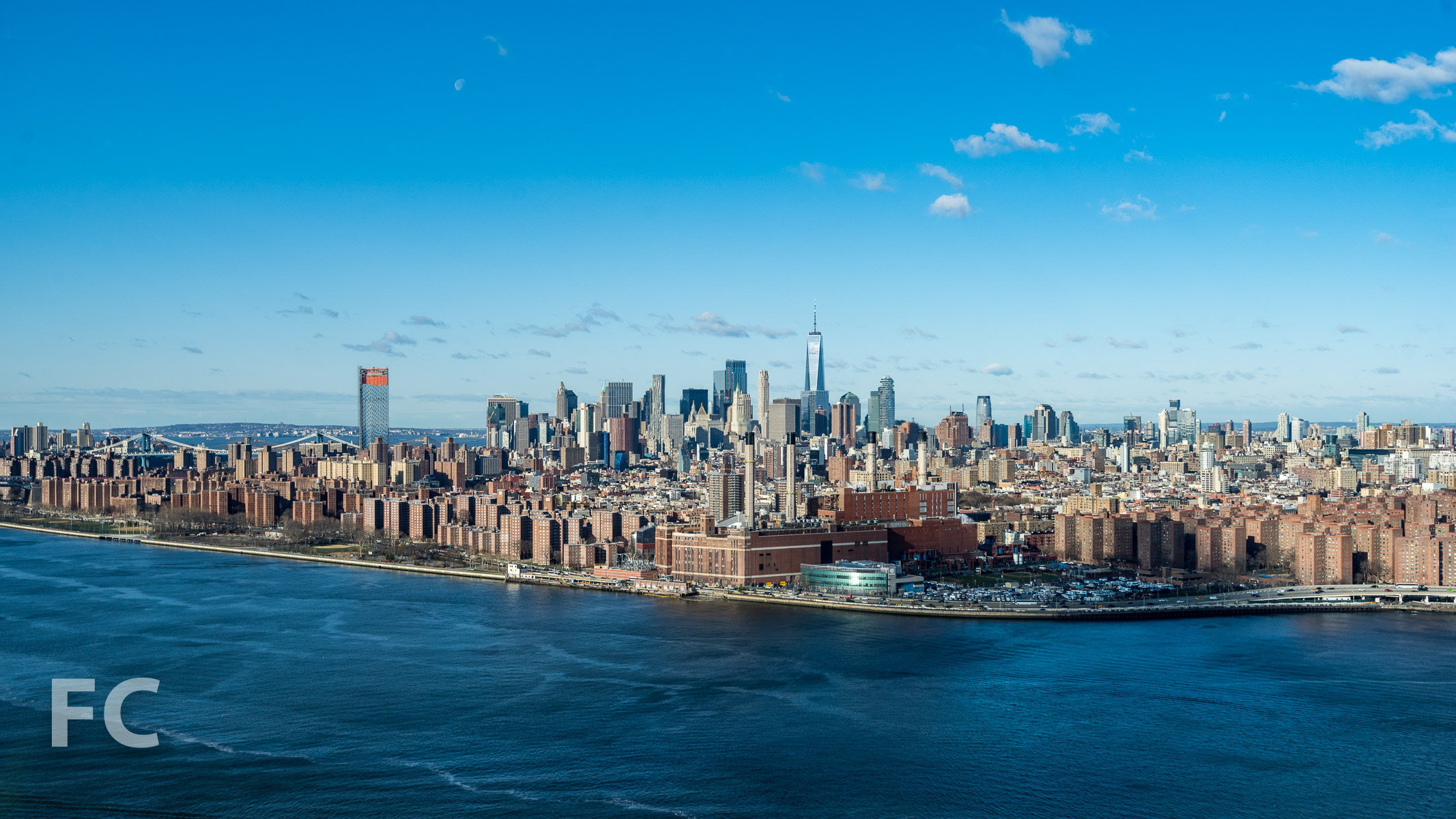 View of the Lower Manhattan skyline from the rooftop.