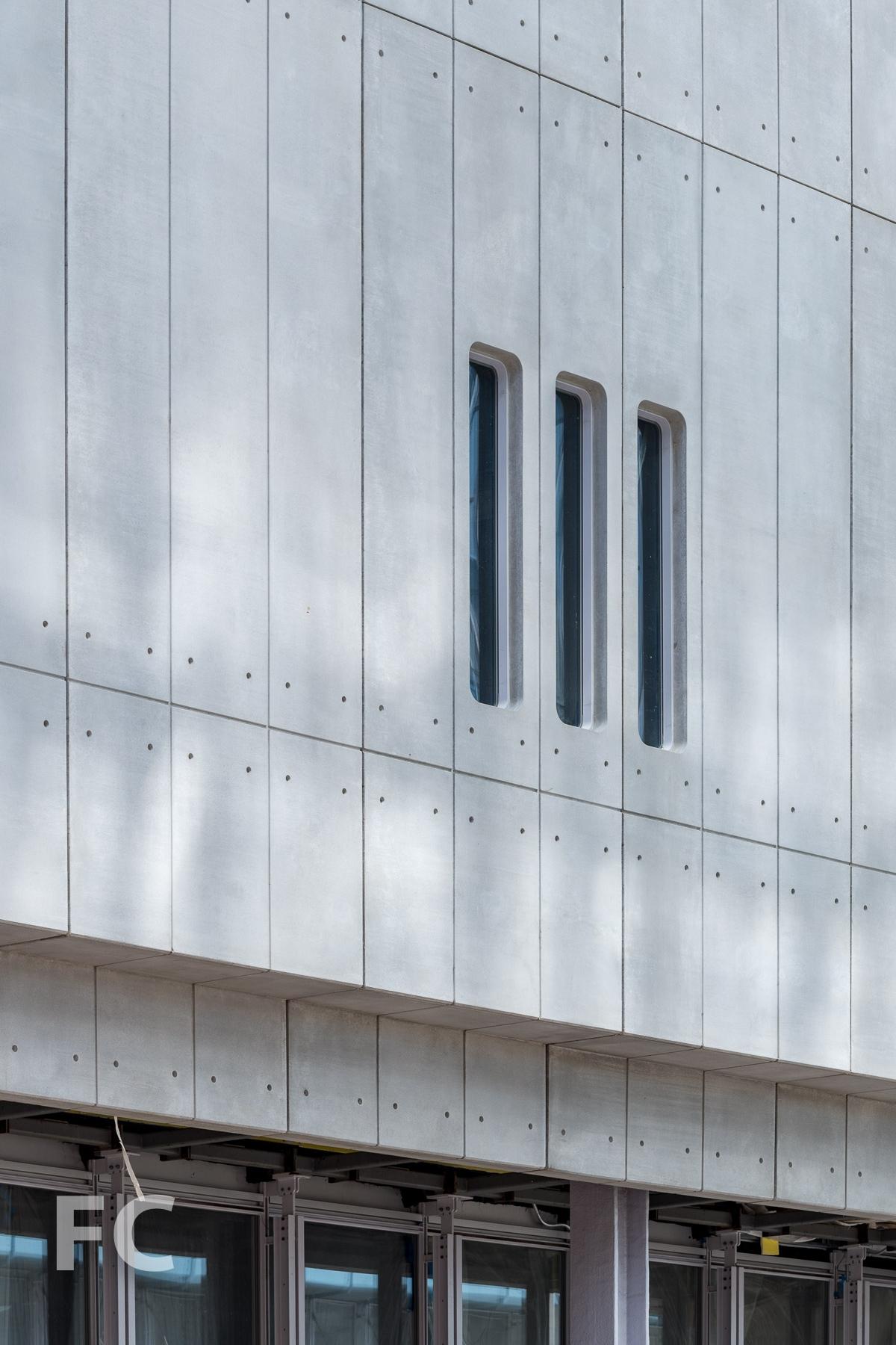 Precast concrete facade close-up.