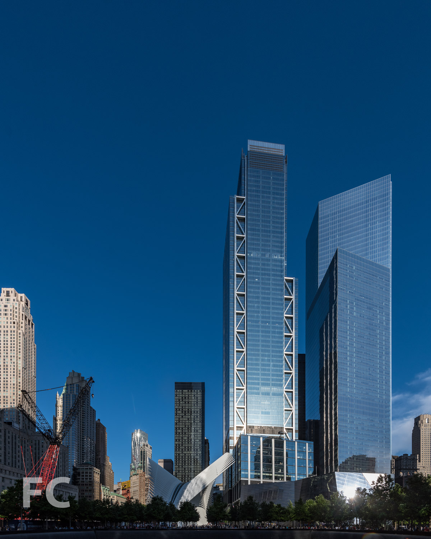 The Transit Hub (center), 4 World Trade Center (right), and 4 World Trade Center (far right) from the Memorial.