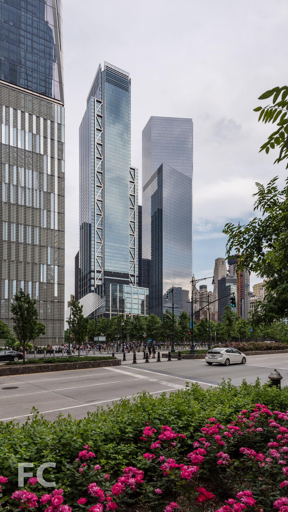 Northwest corner of 3 World Trade Center (center) and 4 World Trade Center (right).