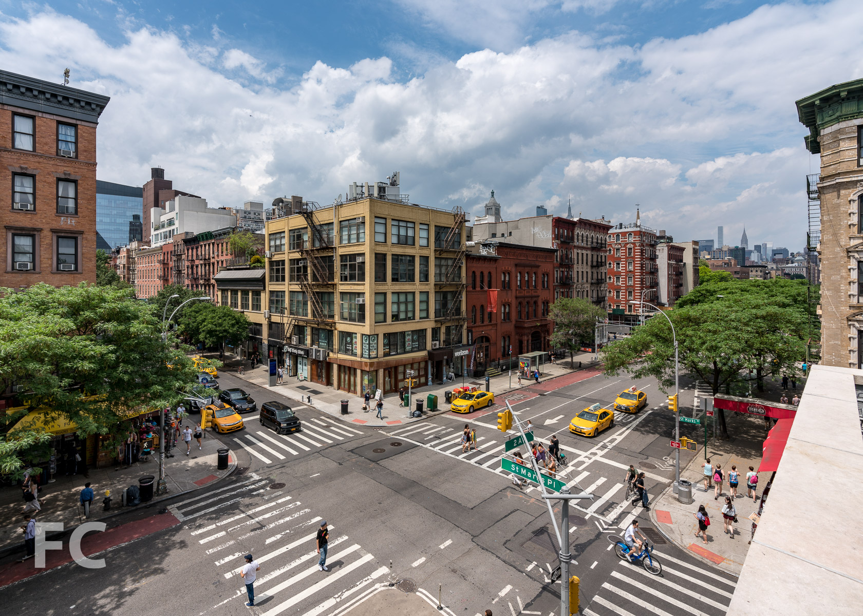 View of the corner of 2nd Avenue and St Marks Place from the rooftop space.